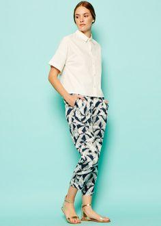 Frances Printed Trousers in Navy Printed Trousers, Harem Pants, Capri Pants, Navy, Prints, Free, Fashion, Hale Navy, Moda