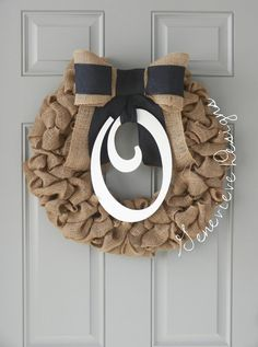 Burlap Wreath - Monogram & Black Bow - Wedding Gift, Baby Wreath, Front Door Wreath, Summer Wreath, Hospital Wreath, Initial Wreath