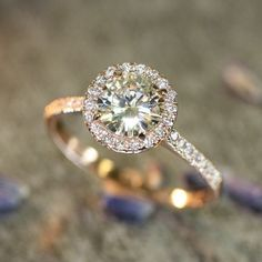 Halo engagement ring- 14k Rose Gold Halo Diamond Moissanite Engagement Ring in Half Eternity Diamond Wedding Band #halo