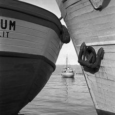 Dva priljubljena broda i drveni jedranjak, Rijeka, oko 1950. Toso Dabac ) #croatian #photography #dabac