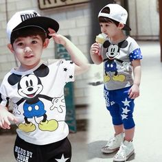 2015 Summer Children Clothes Set Baby Boys Set Mickey Minnie Cartoon Baby & Kids Clothing Suit for Boys 2-7years
