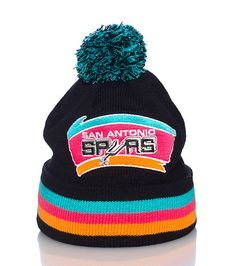 MITCHELL AND NESS San Antonio Spurs Basketball Winter cuffed beanie Embroidered team logo Pom pom on. Spurs Game, San Antonio Spurs Basketball, Fitted Baseball Caps, New York Knicks, Pom Pom Hat, Striped Knit, Knit Beanie, Autumn Winter Fashion, Knitted Hats