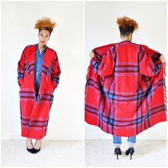vintage 80s red wool PLAID BLANKET fringe coat size S M L by PasseNouveauVintage, $72.00