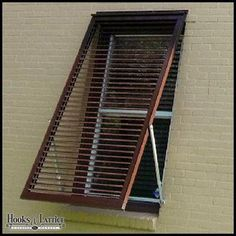 Exterior hurricane shutters for windows and openings. Aluminum bahama shutters online that are made to order to suit your needs. Types Of Shutters, Red Shutters, House Shutters, Interior Shutters, Window Shutters, House Awnings, Bermuda Shutters, Bahama Shutters, Window Coverings