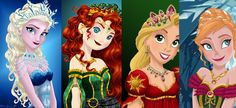The Beautiful Four - Elsa, Merida, Rapunzel, and Anna - Born of royal blood, and worthy of guardianship.