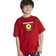 Nebraska Cornhuskers Softball Home Plate Youth Boys Tee Shirt