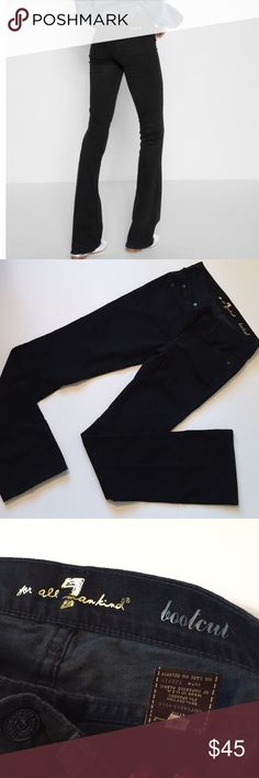 7FAMK Black Bootcut Jeans Excellent condition, only flaw is slight fading. Waist across: 12.5 inches. Inseam: 32 inches. 2% Spandex. 7 For All Mankind Jeans Boot Cut