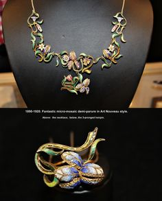 1890-1920.  FANTASTIC set, made in 3-D micromosaic!   ________________________________ The present owners (Aug,2014) are antique dealers who have never seen any micromosaic jewelry like this.  The demi-parure (the fancy name for a small set of matched jewelry) came to them without provenance:  the maker(s), place of origin, previous owners, etc, are complete mysteries.  It is also unknown whether there were ever any other pieces made for this set. Materials:  glass tiles in gold or gilt…
