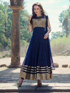 Blue Net Anarkali Suit with Mirror Work