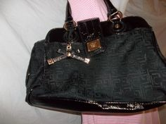Liz Claiborne Black Faux Patten Leather Initial Handbag $22.00