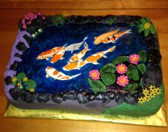 Hand painted koi pond cake