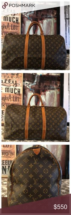 "AUTHENTIC LOUIS VUITTON KEEPALL 50 BOSTON BAG 100% Authentic Louis Vuitton Keepall 50. Travel with luxury with this gorgeous travel bag. Monogram canvas has no scratches or tears. Vachetta leather shows light wear and minor stains and has turned into a brand caramel patina😍 Corners are in good shape, no holes, no exposed piping. Zipper works properly. Inside is in good condition. W19.7""xH11""xD8.7"" No trades Louis Vuitton Bags Travel Bags"