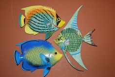 "(3), TROPICAL FISH BATH DECOR, 6"", TROPICAL FISH WALL HANGING, TROPICAL BATH #Unbranded"