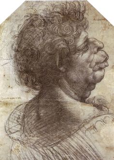 Page: A Grotesque Head Grotesque head Artist: Leonardo da Vinci Completion Date: c.1502 Place of Creation: Italy Style: High Renaissance Genre: sketch and study Technique: chalk Material: paper Dimensions: 39 x 28 cm Gallery: Christ Church, Oxford, UK
