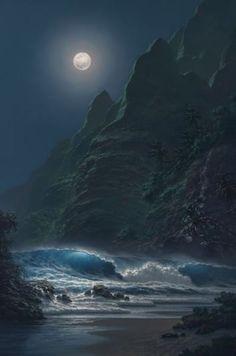 Painting of the Moon over Ocean ocean art waves sea moon drawing painting