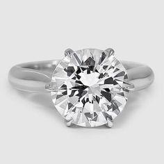 Platinum Catalina Ring // Set with a 4.06 Carat, Round, Super Ideal Cut, E Color, VS2 Clarity Diamond.
