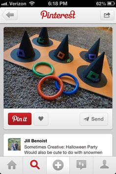 Halloween game (Turn gym cones into witch hats for this one.)