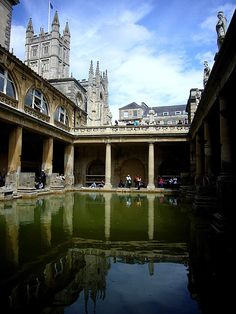 the Roman Baths, Bath, UK...Bath Abbey in background. ..I've been here!