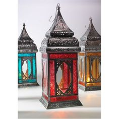 40cm Moroccan Style Large Indian Glass Lantern