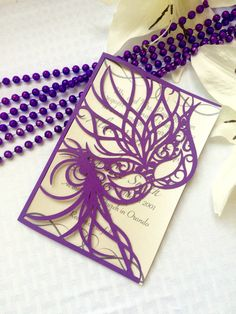Mardi Gras mask cut party wedding invitation by ShimmeringCeremony