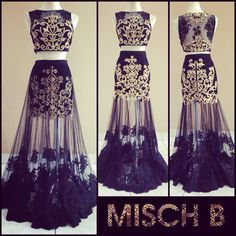 Cropped Lehenga by MischB Couture @mikeetapatel i think this could look amazing on your body type... minus all the bling!!