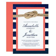Shop Nautical Knot Coral & Navy Stripes Wedding Invitation created by ModernMatrimony. Personalize it with photos & text or purchase as is! Nautical Wedding Invitations, Rustic Bridal Shower Invitations, Nautical Wedding Theme, Bridal Shower Cards, Engagement Party Invitations, Bridal Shower Rustic, Watercolor Wedding Invitations, Invites, Wedding Colors
