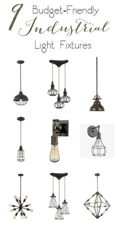 9 Budget-friendly industrial light fixtures for the bedroom. Love ALL these options!