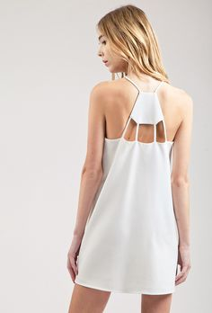 Where to buy chic white day dresses for summer 2016 at @stylecaster | J.O.A. Flowy Dress with Back Cut Outs, $60; at J.O.A.