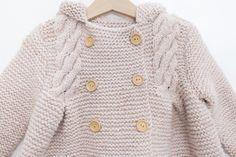 Nordic Coat - Lanas Rubí | Lanas Rubí Knit Baby Dress, Knitted Baby Cardigan, Baby Knitting, Crochet, Coat, Sweaters, Dresses, Fashion, Knit Baby Patterns