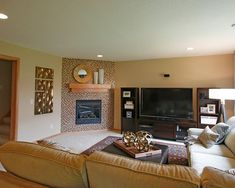 Corner Fireplace Design, TV On One Side, Opening On Other. Warm Walls.