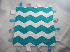 Aqua Chevron Baby Taggie Sensory Toy, Taggie Blanket, Boy or Girl. $12.00, via Etsy.