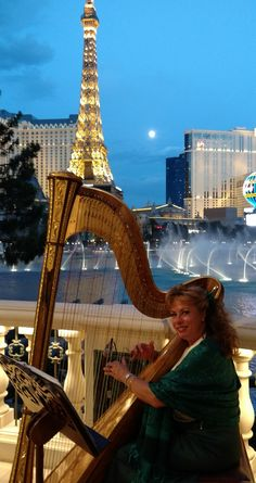Performing on my Harp Beneath a Beautiful Las Vegas Full Moon for a Gorgeous Wedding at the Bellagio Las Vegas Absolutely Fabulous, Harp, Your Music, Lake Tahoe, Full Moon, Corporate Events, Big Ben, The Fosters, Las Vegas