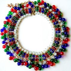 Vintage Poured Glass Red Green Blue Gripoix Necklace