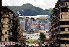 "25 Insanely Dangerous Airports Around The World 17. Kai Tak Airport, Hong Kong Once called ""the mother of all scary airports,"" it was shut down in 1998 after pilots couldn't stand it anymore."
