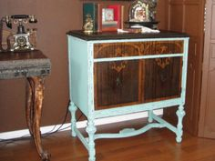 Repurposed Victrola cabinet for printer storage in my studio   :ALTERED ARTIFACTS