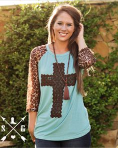 Brown Crochet Cross with Leopard Lace Sleeves
