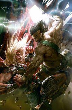 "monstererock: ""spassundspiele: ""Hercules vs Thor – fantasy art by alanE "" I "" Comic Book Characters, Marvel Characters, Comic Character, Comic Books Art, Comic Art, Book Art, Marvel Comics Art, Marvel Vs, Marvel Heroes"