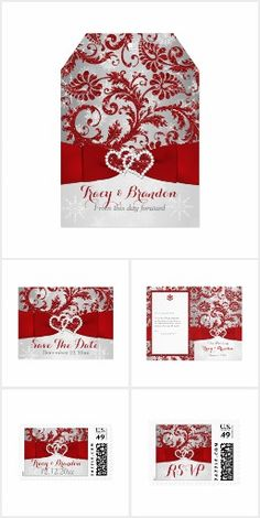 Wrapped in Love Winter Wedding Collection Set the tone for your Christmas or winter wedding with this inexpensive, yet luxuriously elegant red and silver gray floral FAUX glitter damask pattern wedding invitation and assorted matching items that have a background of assorted white snowflakes on it and a PRINTED red ribbon and bow with a pair of diamond jewels and FAUX red glitter joined hearts on it. Suitable for a winter wonderland theme wedding or for a Christmas, New Year's Eve, or…