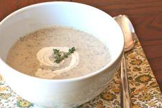 A recipe for a grain free, dairy free cream of mushroom soup.