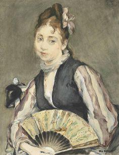 eva gonzalès(1849-1883) portrait de jeanne gonzalès, c. 1870-72. gouache and watercolour on paper, 24.3 x 18.6 cm. christie's