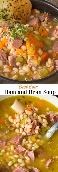 A BEST EVER recipe for Ham and Bean Soup An all-time favourite recipe for leftover ham so hearty and delicious hamandbeansoup ham soup leftoverham Recipe For Ham And Bean Soup, Bean Soup Recipes, Bean Soup With Ham, Ham Bone Bean Soup, Best Ham Bone Soup, Navy Bean Recipes, Summer Soup Recipes, 15 Bean Soup, Bean Stew