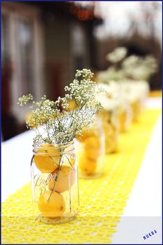 You are my sunshine birthday theme. Mason jars filled with inexpensive flowers, … You are my sunshine birthday theme. Mason jars filled with inexpensive flowers, sliced lemons, and water Sunshine Birthday Parties, Lemon Party, Deco Floral, My Sunshine, Flower Arrangements, Wedding Decorations, Yellow Party Decorations, Summer Table Decorations, Mason Jars
