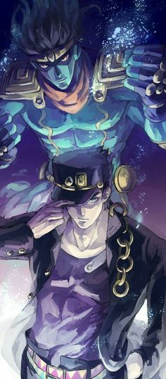Anime: JoJo's Bizarre Adventures Part 3 – Characters: Jotaro / Star Platnium Jojos Bizarre Adventure Jotaro, Jojo's Bizarre Adventure Anime, Jojo Bizzare Adventure, Manga Anime, Anime Guys, Anime Art, Jojo Bizarre, Desenho Jack Frost, Jotaro Joestar