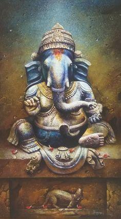 Trendy Disney Art Drawings Sketches Pictures I deas Shiva Art, Ganesha Art, Krishna Art, Hindu Art, Shri Ganesh, Hanuman, Ganesha Pictures, Ganesh Images, Lord Ganesha Paintings