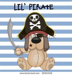 Cute cartoon Dog in a pirate hat