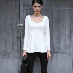 Elegant V-Neck Pleated Lap Womens Blouses