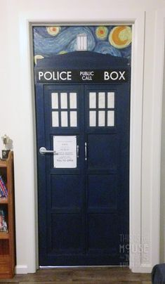 I made our youngest a Tardis door for his bedroom as he is right into Doctor Who - he has also got the rest of us hooked too ; & Tardis door for Dee. Update -Behr paint in sailboat s-hu2026 | Pinterest ...