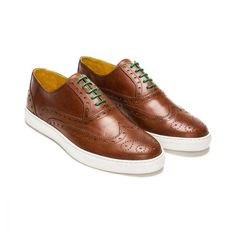 Full brogue Oxford Sneakers. Bespoke handmade with rough brown calf leather, finished with green laces and stitching.