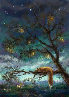 Fox lying on a tree branch at night art