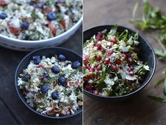 Salads with blueberries, tomatoes and pesto /  quinoa, rucola, pesto and pomegranate.